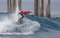 Huntington Beach, CA - Sunday August 06, 2017: Josh Kerr during a World Surf League (WSL) Qualifying Series (QS) Quarterfinal heat in the 2017 Vans US Open of Surfing on the South side of the Huntington Beach pier.