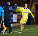 KILMARNOCK'S JAMES FOWLER CELEBRATES WITH MANAGER KENNY SHIELS AFTER HE SCORES KILLIE'S FIRST