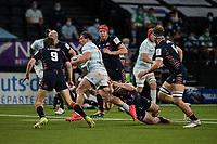 4th April 2021; Paris La Défense Arena, Nanterre, Paris, France; European Champions Cup Rugby, Racing 92 versus Edinburgh;  CAMILLE CHAT ( 2 - Racing ) cuts across H Pyrgos ( 9 - Edinburgh )