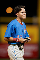 Clearwater Threshers Simon Muzziotti (12) during a Florida State League game against the Tampa Tarpons on April 18, 2019 at Spectrum Field in Clearwater, Florida.  Clearwater defeated Tampa 10-3.  (Mike Janes/Four Seam Images)
