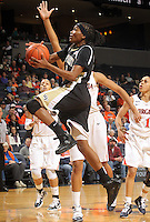 Feb. 3, 2011; Charlottesville, VA, USA; Wake Forest Demon Deacons guard Secily Ray (23) shoots in front of Virginia Cavaliers forward Chelsea Shine (50) during the game at the John Paul Jones Arena.  Mandatory Credit: Andrew Shurtleff