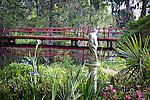 Magnolia Plantation, Red bridge over Cypress Lake, Charleston, SC, USA