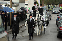 """COPY BY TOM BEDFORD<br />Pictured: The horse-drawn white carriage and the funeral cortege arrives at the Jerusalem Baptist Chapel, Merthyr Tydfil, Wales, UK. Friday 18 August 2017<br />Re: The funeral of a toddler who died after a parked Range Rover's brakes failed and it hit a garden wall which fell on top of her will be held today at Jerusalem Baptist Chapel in Merthyr Tydfil.<br />One year old Pearl Melody Black and her eight-month-old brother were taken to hospital after the incident in south Wales.<br />Pearl's family, father Paul who is The Voice contestant and mum Gemma have said she was """"as bright as the stars""""."""