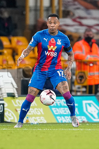 30th October 2020; Molineux Stadium, Wolverhampton, West Midlands, England; English Premier League Football, Wolverhampton Wanderers versus Crystal Palace; Nathaniel Clyne of Crystal Palace controls the ball