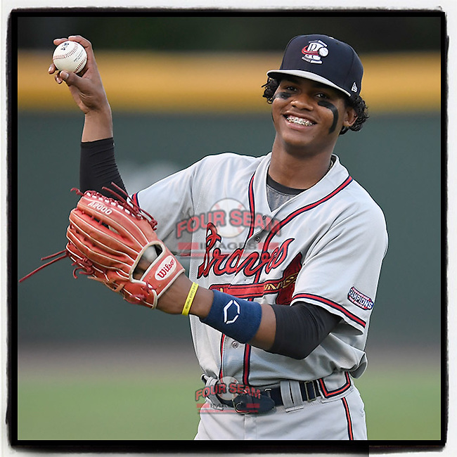 #OTD On This Day, August 12, 2017, Cristian Pache of the Rome Braves played in a game against the Greenville Drive on Saturday, August 12, 2017, at Fluor Field at the West End in Greenville, South Carolina. Pache also played in the 2019-20 Dominican Winter League. This year he is on the Braves' 40-man roster and is Atlanta's No. 1 prospect. (Tom Priddy/Four Seam Images) #MiLB #OnThisDay #MissingBaseball #nobaseball #stayathome #minorleagues #minorleaguebaseball #Baseball #SallyLeague #AloneTogether