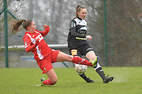 Davinia Vanmechelen (25) of Standard and Tiana Andries (11) of Eendracht Aalst  pictured during a female soccer game between Standard Femina de Liege and Eendracht Aalst on the 12 th matchday of the 2020 - 2021 season of Belgian Scooore Womens Super League , saturday 30 th of January 2021 in Angleur , Belgium . PHOTO SPORTPIX.BE   SPP   STIJN AUDOOREN