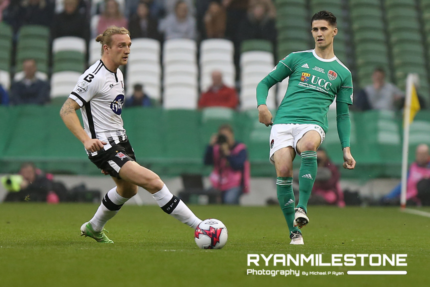 Shane Griffin of Cork City in action against John Mountney of Dundalk during the Irish Daily Mail FAI Cup Final between Dundalk and Cork City, on Sunday 4th November 2018, at the Aviva Stadium, Dublin. Mandatory Credit: Michael P Ryan.