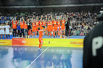 Leipzig, Germany, February 08: Team of The Netherlands celebrates the World Cup Trophy after defeating Austria 3-2 to win the FIH Indoor Hockey Men World Cup on February 8, 2015 at the Arena Leipzig in Leipzig, Germany. (Photo by Dirk Markgraf / www.265-images.com) *** Local caption ***