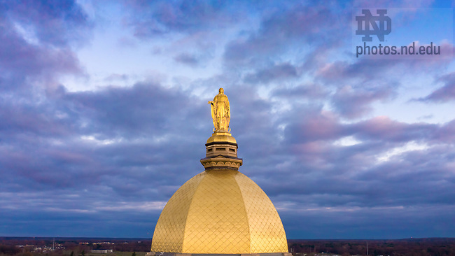 November 23, 2020; Closeup of Golden Dome and Mary Statue atop the Main Building (Photo by Matt Cashore/University of Notre Dame)