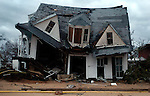 The McDonald House, symbolic of Bay St. Louis antique houses and old town feel is crumbled after Hurricane Katrina hit Mississippi.