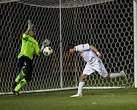 The Winthrop University Eagles lose 2-1 in a Big South contest against the Campbell University Camels.  Mason Lavallet (9) heads a lose ball by Ethan Hall (1) to score Winthrop's only goal.
