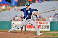 Mobile BayBears starting pitcher Justin Fitzgerald #38 delivers a pitch during a game against the Tennessee Smokies at Smokies Park on May 23, 2014 in Kodak, Tennessee. The BayBears defeated the Smokies 7-1. (Tony Farlow/Four Seam Images)