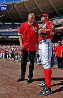 23 September 2007: Former Washington Senators third baseman Frank Howard (left) chats with Washington Nationals current third baseman Ryan Zimmerman prior to the very last professional baseball game played against the Philadelphia Phillies at Robert F. Kennedy Memorial Stadium in Washington, DC. The Nationals defeated the visiting Phillies 5-3 to close out the 2007 home season. The Nationals will open up the 2008 season at Nationals Park, their new facility currently under construction.. .Mandatory Photo Credit: Ed Wolfstein Photo