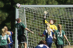 Goalie leaps with one hand up as ball flies towards goal, to block it.