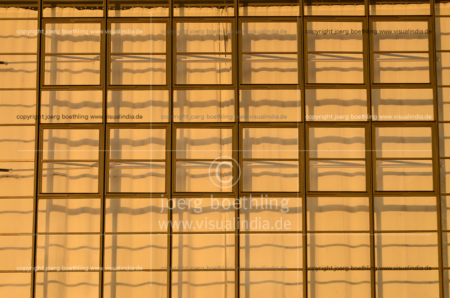 GERMANY, Dessau - Rosslau, famous Bauhaus, built 1925 - 1926 according the planning of  Walter Gropius as building for the Bauhaus school for architecture , art and design, square windows and curtain