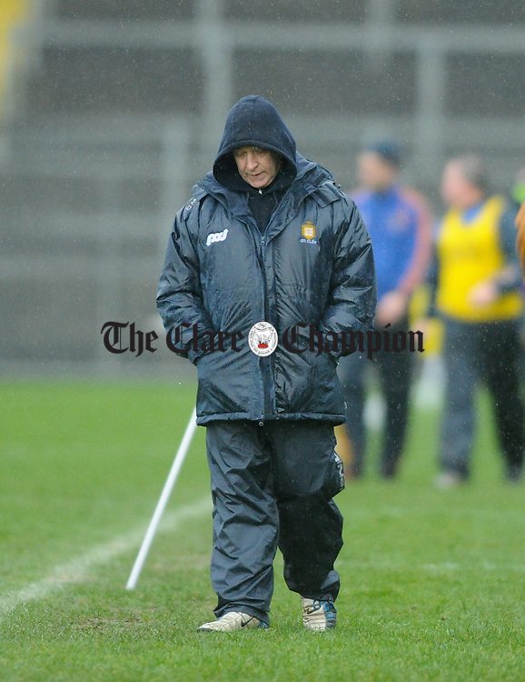 Clare manager Colm Collins on the sideline against Tipperary during the National League game at Thurles. Photograph by John Kelly.