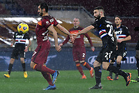Henrikh Mkhitaryan of AS Roma and Lorenzo Tonelli of UC Sampdoria compete for the ball during the Serie A football match between AS Roma and UC Sampdoria at Olimpico stadium in Roma (Italy), January 3rd, 2021. Photo Andrea Staccioli / Insidefoto