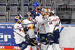 Torjubel zum 0:2 beim Spiel des MAGENTA SPORT CUP 2020, Adler Mannheim (blau) - EHC Red Bull Muenchen (weiss).<br /> <br /> Foto © PIX-Sportfotos *** Foto ist honorarpflichtig! *** Auf Anfrage in hoeherer Qualitaet/Aufloesung. Belegexemplar erbeten. Veroeffentlichung ausschliesslich fuer journalistisch-publizistische Zwecke. For editorial use only.