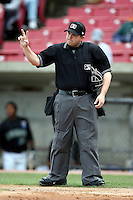 MiLB  Umpire Matt Heersem at Elfstrom Stadium, home of the Kane County Cougars, on April 23, 2011 in Geneva, Illinois. Photo by Chris Proctor/Four Seam Images