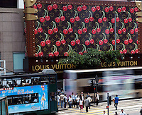 Giant Louis Vuitton suitcase in front of The Landmark in Central, Hong Kong. Since this year, Hong Kong shows definite signs of recovery..