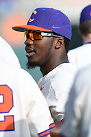 Freshman Kier Meredith (1) of the Clemson Tigers waits for the beginning of a game against the Furman Paladins on Tuesday, February 20, 2018, at Doug Kingsmore Stadium in Clemson, South Carolina. Clemson won, 12-4. (Tom Priddy/Four Seam Images)