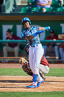 Sauryn Lao (3) of the Ogden Raptors at bat against the Idaho Falls Chukars at Lindquist Field on August 9, 2019 in Ogden, Utah. The Raptors defeated the Chukars 8-3. (Stephen Smith/Four Seam Images)