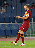 Roma s Edin Dzeko celebrates after scoring during the Serie A soccer match between Roma and Benevento at Rome's Olympic Stadium, October 18, 2020.<br /> UPDATE IMAGES PRESS/Riccardo De Luca
