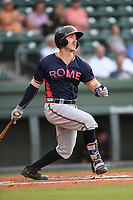 Catcher Brett Cumberland (28) of the Rome Braves bats in a game against the Greenville Drive on Wednesday, May 31, 2017, at Fluor Field at the West End in Greenville, South Carolina. Greenville won, 7-1. (Tom Priddy/Four Seam Images)