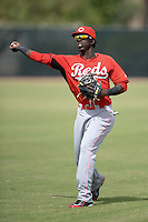 Cincinnati Reds second baseman Franklin Vargas (52) during warmups before an Instructional League game against the Milwaukee Brewers on October 6, 2014 at Maryvale Baseball Park Training Complex in Phoenix, Arizona.  (Mike Janes/Four Seam Images)