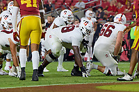 LOS ANGELES, CA - SEPTEMBER 11: Myles Hinton #78 of the Stanford Cardinal gets set for a play during a game between University of Southern California and Stanford Football at Los Angeles Memorial Coliseum on September 11, 2021 in Los Angeles, California.