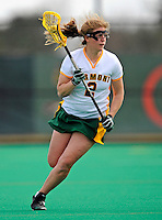 9 April 2008: University of Vermont Catamounts' Attackman Emilie Clark, a Senior from Calais, VT, in action against the University of New Hampshire Wildcats at Moulton Winder Field, in Burlington, Vermont. The Catamounts rallied to defeat the visiting Wildcats 9-8 in America East divisional play...Mandatory Photo Credit: Ed Wolfstein Photo