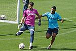 Getafe CF's Ruben Yanez (l) and Angel Rodriguez during training session. September 23, 2020.(ALTERPHOTOS/Acero)