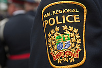 Peel Regional Police badge is seen during a police memorial parade in Ottawa Sunday September 26, 2010.