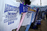 """A t-shirt is sold outside the stadium with the words """"Leicester City, the peoples champions"""" before the Barclays Premier League match between Leicester City and Swansea City played at The King Power Stadium, Leicester on April 24th 2016"""
