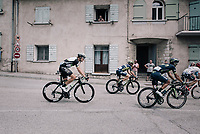 eventual winner Edvald Boasson Hagen (NOR/Dimension Data) riding in the back of the breakaway group as they ride through the town of Sisteron<br /> <br /> 104th Tour de France 2017<br /> Stage 19 - Embrun › Salon-de-Provence (220km)