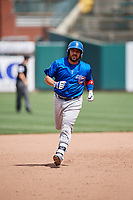 Iowa Cubs catcher Ali Solis (4) running the bases during a game against the Memphis Redbirds on May 29, 2017 at AutoZone Park in Memphis, Tennessee.  Memphis defeated Iowa 6-5.  (Mike Janes/Four Seam Images)