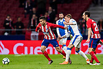 Angel Correa (L) of Atletico de Madrid battles for the ball with Raul Garcia Carnero, Raul C, of CD Leganes during the La Liga 2017-18 match between Atletico de Madrid and CD Leganes at Wanda Metropolitano on February 28 2018 in Madrid, Spain. Photo by Diego Souto / Power Sport Images