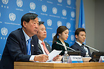 """Press briefing entitled """"2018 PyeongChang Winter Olympics and the GA resolution Building a peaceful and better world through sport and Olympic ideal and its adoption""""<br /> Speakers: Jong-hwan Do (Mr.), Republic of Korea's Minister of Culture, Sport and Tourism; Hee-bum Lee (Mr.), President of the PyeongChang Olympic Organizing Committee; Yuna Kim (Ms.), Seunghwan Chung (Mr.), former Olympic athletes and Olympic Goodwill Ambassadors"""