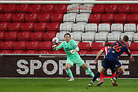 Sunderland's Charlie Wyke is challenged by Blackpool's Dan Ballard in the Blackpool's box Sunderland attack Blackpool's Chris Maxwell watches the ball during Sunderland AFC vs Blackpool, Sky Bet EFL League 1 Football at the Stadium Of Light on 27th April 2021