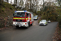 Pictured: A fire engine leaves the house that burned in Llangammarch Wells, Powys, Wales, UK. Tuesday 31 October 2017<br />