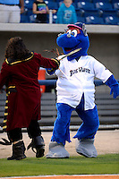 Pensacola Blue Wahoos mascot during an on field promotion before a game against the Jacksonville Suns on April 15, 2013 at Pensacola Bayfront Stadium in Pensacola, Florida.  Jacksonville defeated Pensacola 1-0 in 11 innings.  (Mike Janes/Four Seam Images)