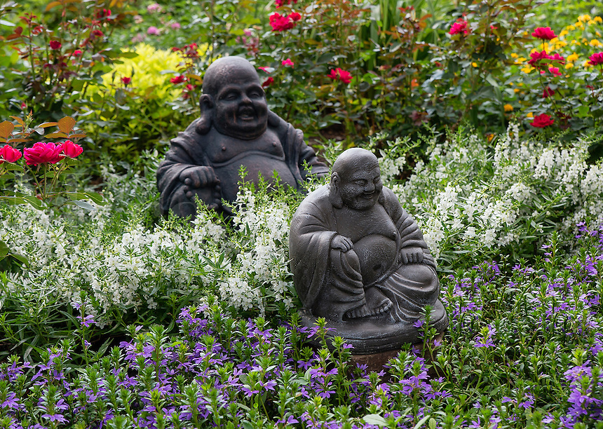 Home flower garden in full bloom with Bhudda sculpture.