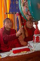 Bodhnath, Nepal.  Buddhist Monk Musicians at the Sherpa Buddhist Shedrub Center.