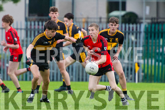Minor Football League match Dr. Crokes vs Kenmare at the Dr. Crokes GAA Football pitch, Killarney last Friday.<br /> Pictured in action Jack Lynch (Dr. Crokes) and Fergal O'Sullivan (Kenmare).