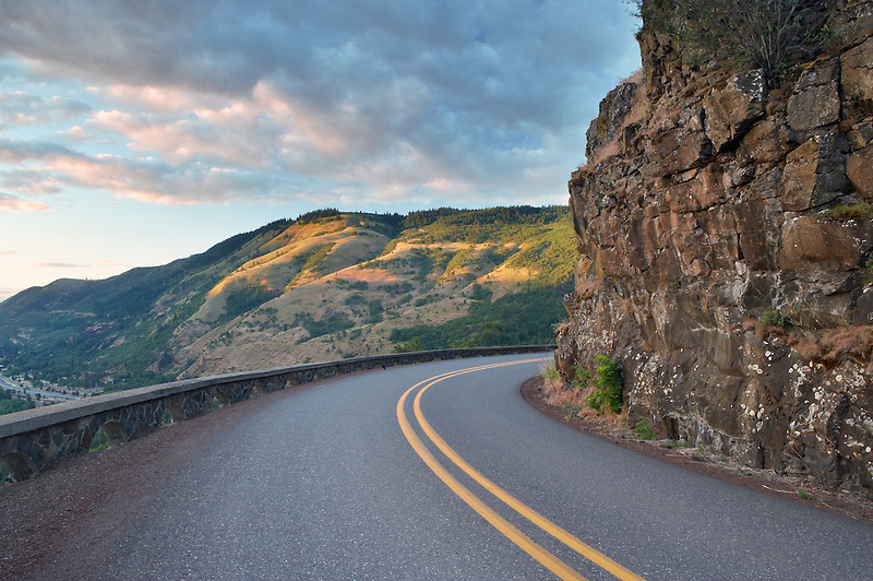 Sunrise with historic highway. Columbia River Gorge National Scenic Area, Oregon