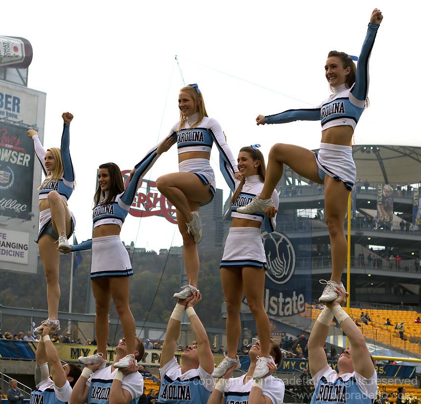 North Carolina cheerleaders. The North Carolina Tar Heels defeated the Pitt Panthers 34-27 at Heinz Field, Pittsburgh Pennsylvania on November 16, 2013.