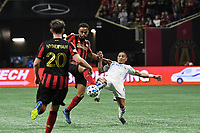 ATLANTA, GA - MARCH 07: ATLANTA, GA - MARCH 07: Atlanta United defender Anton Walke and Adrien Regattin contest for the ball during the match against FC Cincinnati, which Atlanta won, 2-1, in front of a crowd of 69,301 at Mercedes-Benz Stadium during a game between FC Cincinnati and Atlanta United FC at Mercedes-Benz Stadium on March 07, 2020 in Atlanta, Georgia.