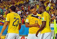 CUIABA - BRASIL -24-06-2014. Jackson Martinez (#21) y Fredy Guarin (#13) jugadores de Colombia (COL) celebran un gol anotado a Japón (JPN) durante partido del Grupo C de la Copa Mundial de la FIFA Brasil 2014 jugado en el estadio Arena Pantanal de Cuiaba./ Jackson Martinez (#21) and Fredy Guarin (#13) players of Colombia (COL) celebrate a goal scored to Japan (JPN) during the macth of the Group C of the 2014 FIFA World Cup Brazil played at Arena Pantanal stadium in Cuiaba. Photo: VizzorImage / Alfredo Gutiérrez / Contribuidor
