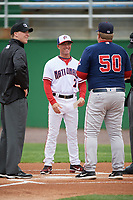 Potomac Nationals manager Tripp Keister (7) during the lineup exchange with Joe Oliver (50) before first game of a doubleheader against the Salem Red Sox on May 13, 2017 at G. Richard Pfitzner Stadium in Woodbridge, Virginia.  Potomac defeated Salem 6-0.  (Mike Janes/Four Seam Images)