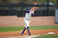 High Point Panthers third baseman Trent Harris (5) catches a pop fly during the game against the Campbell Camels at Williard Stadium on March 16, 2019 in  Winston-Salem, North Carolina. The Camels defeated the Panthers 13-8. (Brian Westerholt/Four Seam Images)